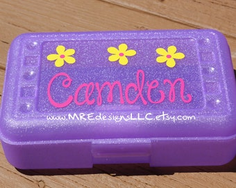 Personalized Pencil Crayon Box Back To School Girl LIMITED SUPPLY