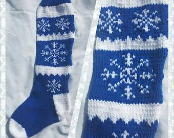 Royal Blue Snowflake Stocking