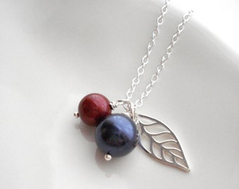 Silver Leaf Necklace  Red Currant Blackcurrant Necklace Blue Burgundy Pearl Necklace Swarovski Pearl Leaf Pendant Gift For Her Under 50