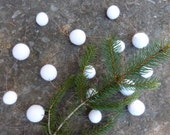 Snow Ball Garland  - white felt ball garland - a wintery garland of soft white felt balls mixed sizes - on brown cord - about 6 feet long