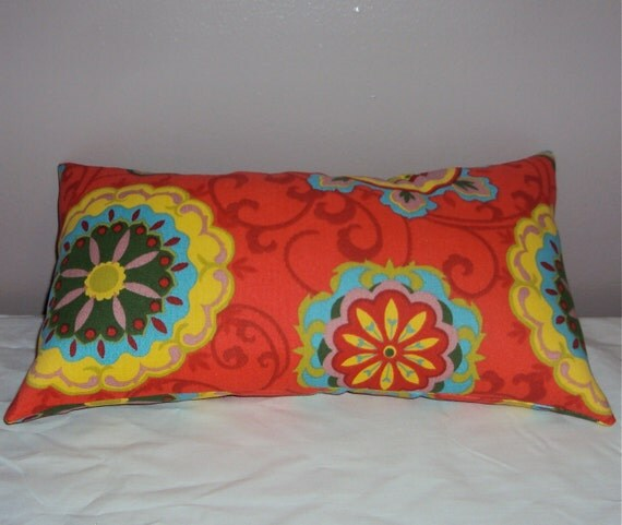 16x9 Red Orange Multicolor Outdoor Lumbar Pillow Cover