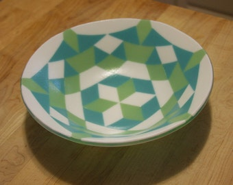 Geometric fused glass bowl