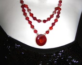 Sterling SIlver Red  Carnelian Pendant/2strand necklace  &  earrings 10% Sale   Was  45, now only 40.5.5