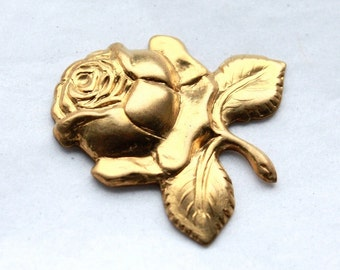3 Vintage Brass Rose Stampings // Victorian Style