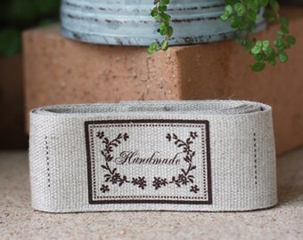 Handmade Linen Labels set of 10, U7162