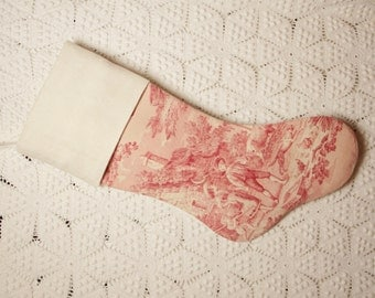 Wonderful French Antique Toile de Jouy and Vintage French Linen Heirloom Christmas Stocking