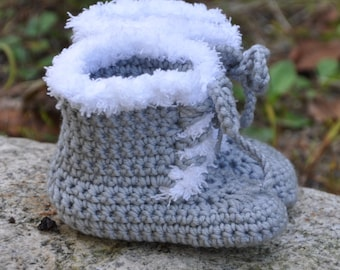 Baby Booties with Ties, Booties that stay on, Wool Baby Booties
