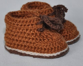 Crochet Baby Booties, Baby Hiking Boots, Tie Baby Booties