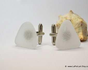 Organic clear Sea Glass cufflinks TRIANGLE for him or her with Genuine Natural Amalfi Sea Glass / nr58
