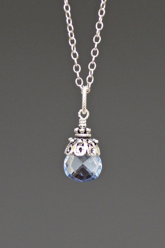 Faceted Natural Blue Topaz Teardrop Pendant with Bali Silver Cap
