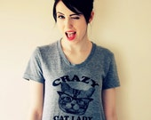 CRAZY CAT lady t shirt -- American printed apparel  S M L XL  ( 6 colors )