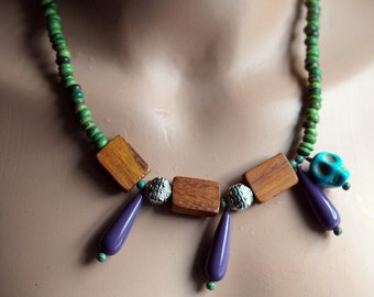 Coconut Necklace - Skull Necklace - Natural Necklace - Skull Jewelry - Hipster Purple and Green - Bead Soup Jewelry