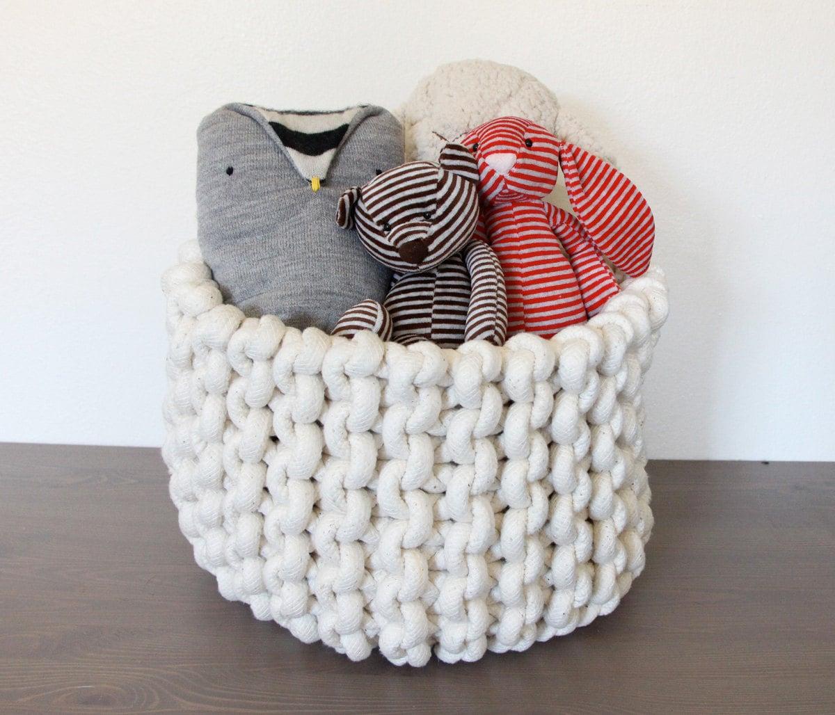 Knitting Rope Machine : Large knit rope basket