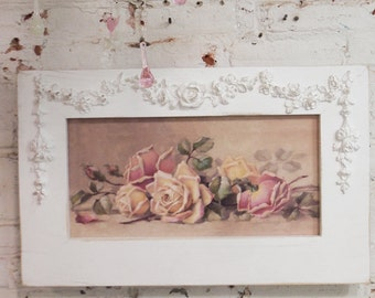 Painted Cottage Chic Shabby Romantic Rose Canvas Print HD58