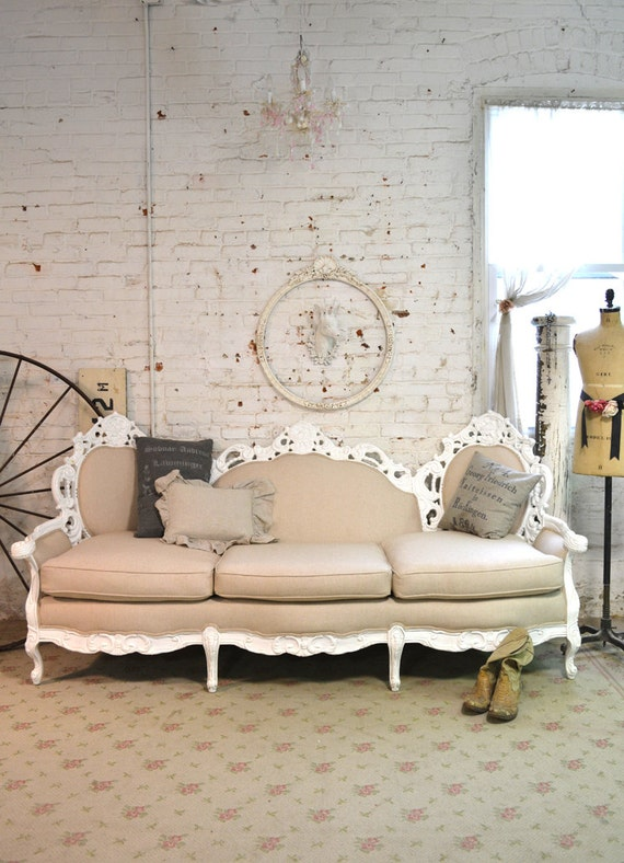 painted cottage chic shabby french sofa chr81. Black Bedroom Furniture Sets. Home Design Ideas