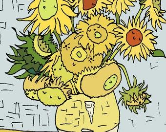 Cute Sunflowers art illustration 8x10 print