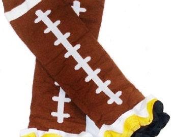 Football Ribbon Ruffle  Leg Warmers baby toddler girls Steelers Fan