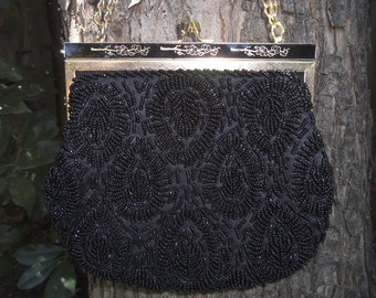 Rimco Purse Rimco Handbag Black Beaded Purse Black Beaded Handbag 1950s Handbag 1960s Handbag Black Beaded Evening Bag