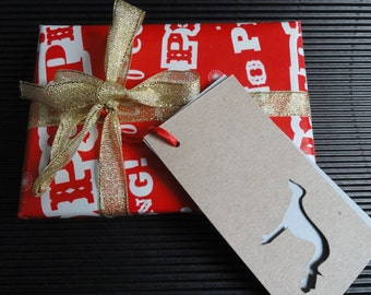 Hand-Cut Original Whippet Gift Tag