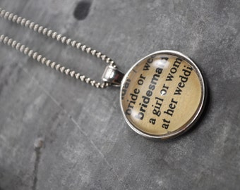 Vintage Dictionary Word Necklace Pendant BRIDESMAID