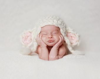 Newborn lamb hat - handspun merino wool yarn