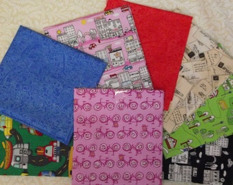 Travel  Fabric Fat Quarters-8 Designs-Pink Bicycles,etc-Great for Tote Bags-Quilts-Aprons-Pillows-Wall Hangings-etc