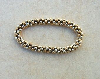Hand Crocheted Sterling Silver & Gold  Faceted Bead Bracelet