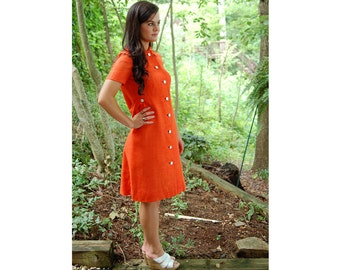 1960s linen dress, orange dress, mother of pearl buttons, shirt dress, coat dress, Doncaster, Size M