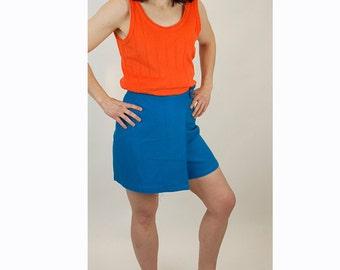 1960s skort, 1960s mini skirt, turquoise skirt, tweed shorts, 60s sportswear, Size S