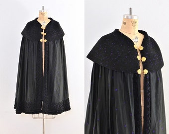 vintage cape  -  embroidered cape coat  / vintage opera cape / black cape