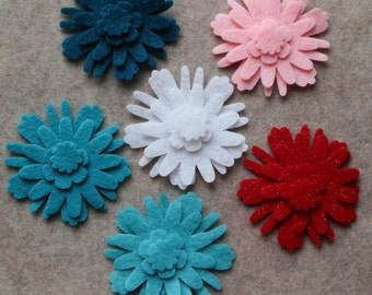 Frosted Sweets - Dahlias - 48 Die Cut Felt Flowers
