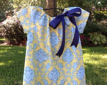 Girls' Peasant Dress- Lime and Blue Damask Cotton-made to order-sizes 1-6