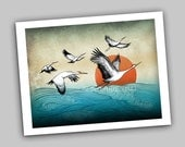 "Flight of the Cranes, 8.5x11"" Asian Inspired Mixed Media Nature Bird Illustration Fine Art Print"