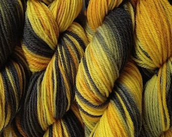 DK Sport Weight Hand Painted Merino Wool Yarn Taxi Cab Hand Dyed Yellow Gray Black