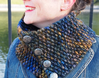 luxurious merino cowl in dark and stormy