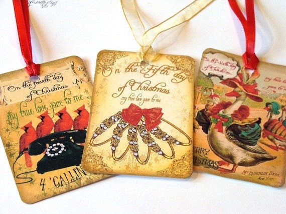 12 Days  Tags , Christmas Tags , Set Of 12 , Vintage Christmas , Christmas Music Tags , Xmas Tags , Thank Yous , Holiday Tags