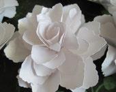 Bright White Shimmer Paper Flowers  - Set of 6
