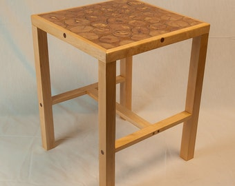 End-grain oak side table - square and light