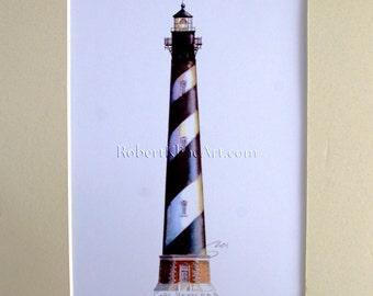 "Cape Hatteras Lighthouse Art Signed Robert Kline 11 x 14"" Matted Print NC North Carolina Outer Banks Island Nautical Beach House Home Decor"