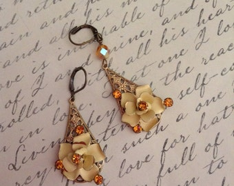 Vintage Upcycled Austrian Yellow Rose Art Deco Assemblage Earrings,statement,OOAK,Reprposed,shabby Chic