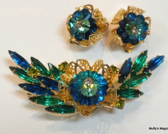 Vintage Juliana Margarita Brooch Earrings Blue Green Rhinestones