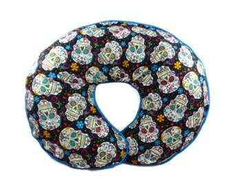 Black Sugar Skulls Boppy Nursing Pillow Cover Boppy Slipcover Gothic Emo Punk Rock Rockabilly Skull Nursery Decor Newborn Support pillow