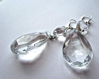 large Crystal chandelier drop earrings, chandelier earrings, crystal chandelier pieces up cycled jewelry