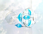 Capri blue silver foil earrings/ hand Blown lampwork glass/ Crystalssmokey gray blue/ beach/ modern/ teen/ women/ feminine/ dangle