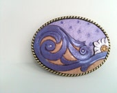 Purple Victorian Scroll leather buckle - CowCarvers
