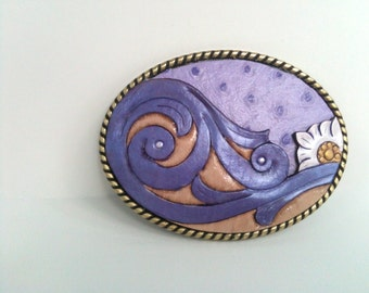Violet tulip Victorian Scroll leather buckle