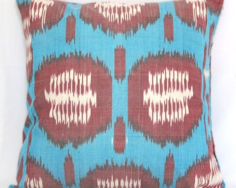 16x16 pillows home decor, uzbek ikat, ikat pillow cover, 16x16, decorative pillow, accent pillow, throw pillow, turquoise, burgundy
