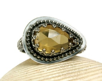 Whiskey Quartz Ring, Sterling Silver, Rennisance Ring, Yellow Gemstone, Hand Made, custom sized