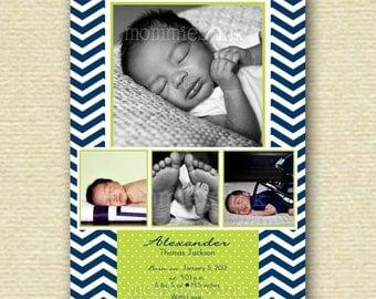 Navy Chevron and Green Polka Dots 4 Photo Birth Baby Announcement - Chevron Baby Announcement - Four Photo Announcement - It's a Boy