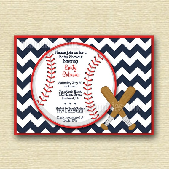 chevron baseball baby shower invitation printable invitation design